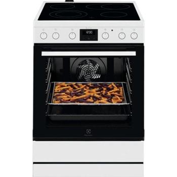 Готварска печка Electrolux LKR64020AW, 4 нагревателни зони, 73л. обем, пуш-пул въртящи се бутони, функции на програмиране на фурната, 10300W, инокс image