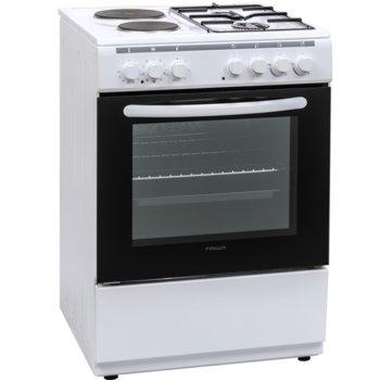 Готварска печка Crown Finlux FXC 622M, 4 броя нагревателни зони, 65 л. обем на фурната, 8 функции, бяла image
