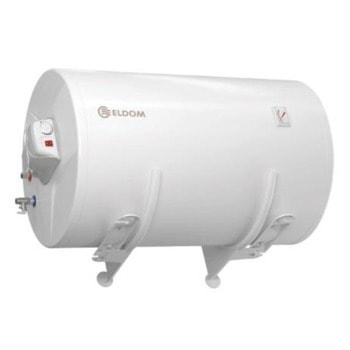 Електрически бойлер Елдом 72280XB, 150Л обем, хоризонтален, 3kW, емайлиран, 101.5 x 58.6 x 58.6 см, потопяем тръбен нагревател image