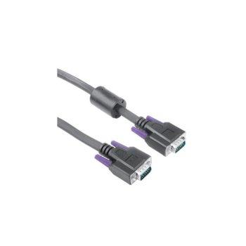 Кабел Hama VGA(м) към VGA(м) (15 pin), двойно-екраниран, с филтър, 10m, черен image