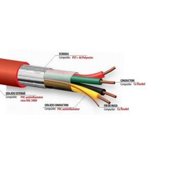 Трудногорими кабели Fire2x1.5, 7.2 м диаметър, алуминиево фолио, RAL 3000., 100 м, червен image