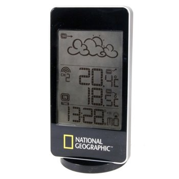 Електронна метеостанция Bresser National Geographic, един екран, час, аларма, черна image
