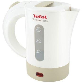 Електрическа кана Tefal Travel'City KO120, 0.5 литра обем, Двойна мощност 1200W/2400W, 2 чашки и 2 лъжички, бяла/сива image