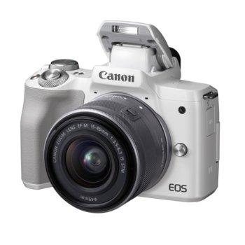 """Фотоапарат Canon EOS M50(бял) в комплект с обектив EF-M 15-45mm f/3.5-6.3 IS STM, 24,1 Mpix, 3.0"""" (7.62 cm) LCD сензорен дисплей, Bluetooth, Wi-Fi, micro USB, microHDMI, SDXC слот image"""