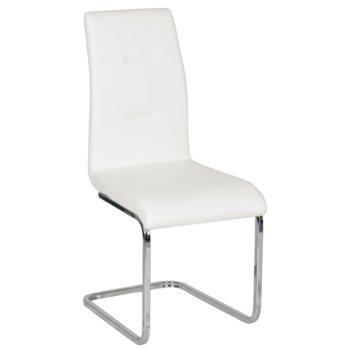 Трапезен стол Carmen 371, еко кожа, хромирани крака, бял image