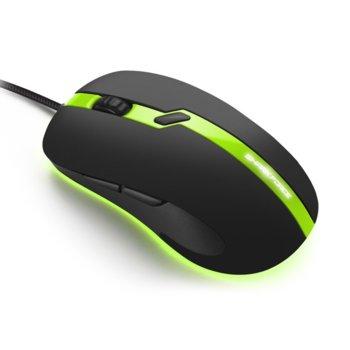 Мишка Sharkoon SHARK Force Pro Green, оптична (3200 dpi), 6 бутона, черен/зелен image
