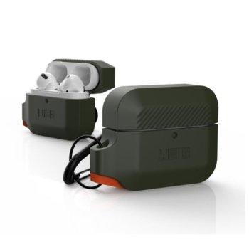 Калъф за слушалки Urban Armor Soft Touch Waterproof Silicone Hang 10225K117297, за Apple AirPods Pro, термополиуретанов, удароустойчив, водоустойчив, тъмнозелен image