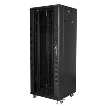 """Комуникационен шкаф Lanberg FF01-6632-12B, 19"""", 32U, 600 x 600 x 1603, стъклена врата, черен image"""