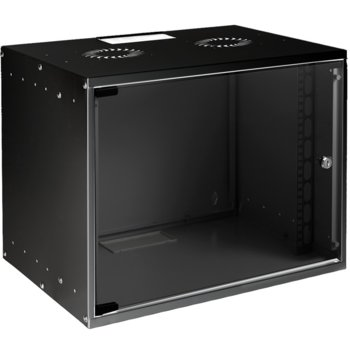 Комуникационен шкаф MIRSAN SOHO, 535 x 400 x 440 мм, D=400 мм / 9U, черен, за стена image
