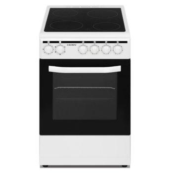 Готварска печка Crown CEC-505VW, енергиен клас А, 4 броя нагревателни зони, 43 л. обем на фурната, 5 функции, бяла image