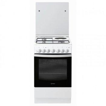 Готварска печка Crown Indesit IS5M5PCW/E, 4 броя нагревателни зони, ток и газ, 57 л. обем на фурната, 3 газови горелки, 1 ел.котлон, 5 функции на фурната, бяла image