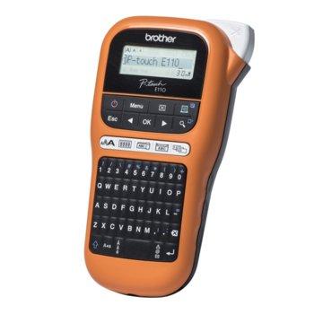 Преносим етикетен принтер Brother P-touch PT-E110VP, LCD дисплей, ширина на етикета 3.5, 6, 9 и 12мм, QWERTY клавиатура, термо-трансферен печат image