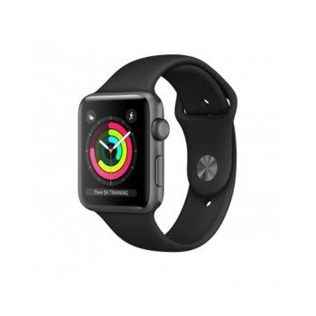 Смарт часовник Apple Watch Series 3 GPS 42mm, 312 x 390 pix OLED Retina дисплей, 8GB памет, Wi-Fi, Bluetooth, Watch OS 4, водоустойчив, черен с черна каишка image