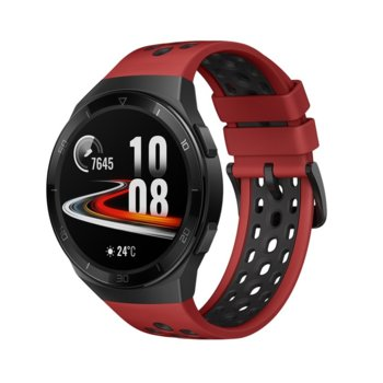 "Смарт часовник Huawei GT2e Hector-B19R, 42mm, 1.39"" (3.53 cm), Bluetooth, 4GB RAM, 16GB ROM, водоустойчив, iOS/Android, черен с червена каишка image"