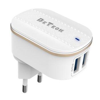 Зарядно устройство DeTech DE-15, от контакт към 2x USB Type A(ж), 5V, 3.1A, бяло image