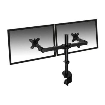 """Стойка за монитор Ewent EW1512, за маса, за екрани до 32"""", VESA до 100x100, до 8кг, регулируема, за 2 монитора, черна image"""
