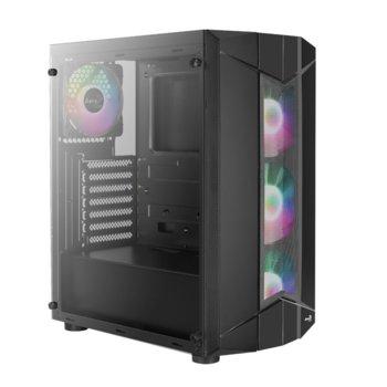 Кутия AeroCool Sentinel BG (ACCM-PB16043.11), ATX/MicroATX/Mini-ITX, 1x USB 3.0, 4x 120mm вентилатора включени, страничен прозорец, черна, без захранване image