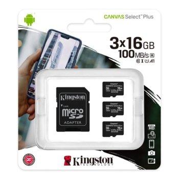 Карта памет 16GB microSDHC с адаптер, Kingston Canvas Select Plus Multi Pack, Class 10 UHS-I, скорост на четене 100MB/s, скорост на запис 10 MB/s, 3 броя image