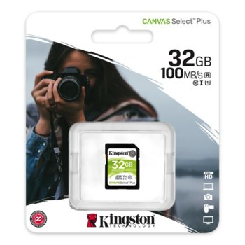 Карта памет 32GB SDHC, Kingston Canvas Select Plus, Class 10 UHS-I, скорост на четене 100MB/s, скорост на запис 10MB/s image