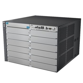 Суич HPE Aruba 5412R zl2, 40 Gbps, (12) open module slots, Supports a maximum of 288 autosensing 10/100/1000 ports or 288 SFP ports or 96 SFP+ ports or 96 HPE Smart Rate Multi-Gigabit or 24 40GbE ports, or a combination image