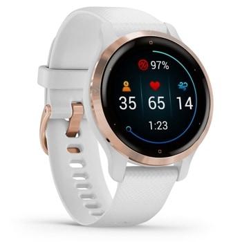 """Смарт часовник Garmin Venu 2/2S, 1.10"""" (2.79 cm) AMOLED дисплей, Bluetooth, ANT+, Wi-Fi, до 11 дни живот на батерията, GPS, хронометър, час на изгрев/залез, барометричен алтиметър, компас, акселерометър, жироскоп, Connect IQ, водоустойчив, черен image"""