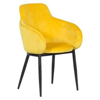 Трапезен стол Carmen TARA, до 100кг. макс. тегло, дамаска, метална база, жълт image