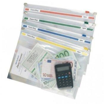 Джоб с цип, A4+, Snopake, прозрачен асорти, Съхранява до 100 листа image
