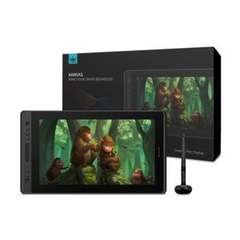 "Графичен таблет Huion Kamvas Pro 16 Premium (черен), 15.6"" (39.62 cm) Full HD IPS дисплей, 5080 lpi, 8192 ниво на натиск, USB Type C, писалка image"