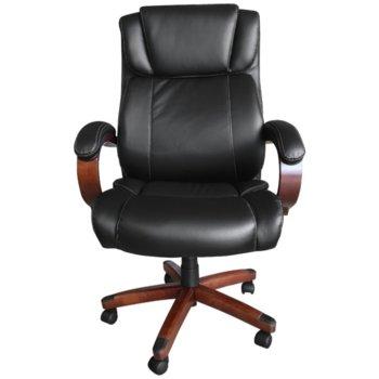 Президентски офис стол Carmen 5023, дървена база, естествена кожа, механизъм за регулиране на височината, люлеещ механизъм, черна image