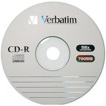 Оптичен носител CD-R media 700MB, Verbatim, 52x, 1бр., без опаковка image