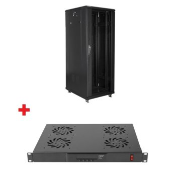 """Комуникационен шкаф Lanberg FF01-6832-12B в комплект с вентилатор Lanberg AK-1502-B, 19"""", 32U, 600 x 800 x 1603, стъклена врата, черен image"""