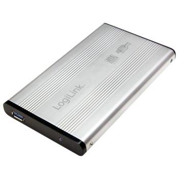 """Кутия 2.5"""" (6.35 cm) LogiLink UA0106A, SATA3, USB 3.0, сребриста image"""