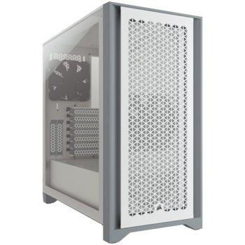 Кутия Corsair 4000D Airflow (CC-9011201-WW), ATX, 1x USB 3.1 Type C, 1x USB 3.0, прозорец, бяла, без захранване image