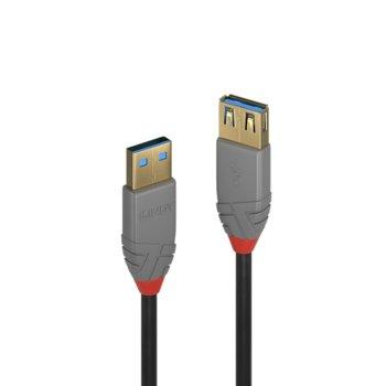 Кабел Lindy Anthra Line, от USB Type-A 3.1 (м) към USB Type-A 3.1 (ж), 0.5 м, черен image