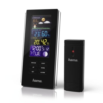 "Електронна метеостанция HAMA ""Color Edge"",час, календар, аларма, барометър, черен image"