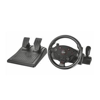 Волан с педали Trust GXT 288, 270 градуса на въртене, 27.43 см. диаметър на волана, LED индикатори, USB, за PS3/PC, черни  image