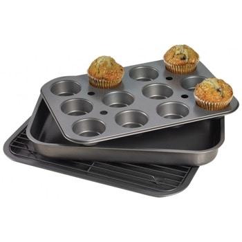 Комплект тави, форма и скара за печене Kinghoff KH 1409, 4 части, стомана, черен image