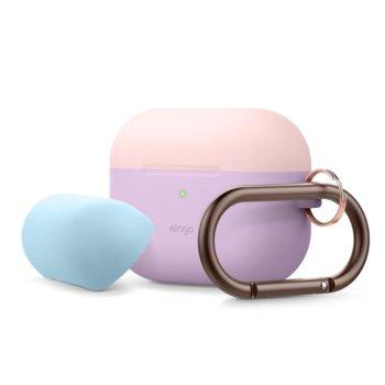 Калъф за слушалки Elago Duo Hang Silicone EAPPDH-LV-LPKPBL, за Apple AirPods Pro, силиконов, лилав-розов image