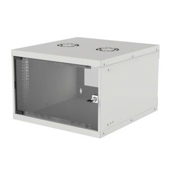 """Комуникационен шкаф Intellinet 714792, 19"""", 6U, 540 x 560 x 353 мм, предна стъклена врата, IP20 защита, сив image"""