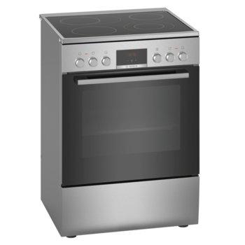 Готварска печка Bosch HKR39C250, клас А, 4 нагревателни зони, 66 л. обем на фурната, EcoClean покритие, LED-Display, 7 начина на нагряване, инокс  image