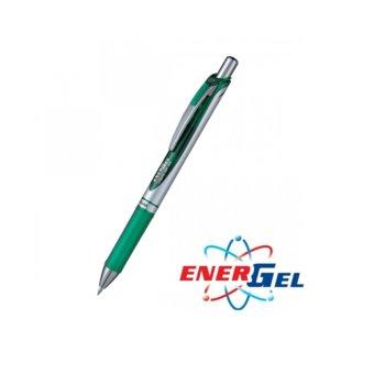 Автоматичен ролер Pentel Energel BL77, зелен цвят на писане, дебелина на линията 0.7 mm, гел, сребрист, цената е за 1бр. (продава се в опаковка от 12бр.) image