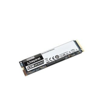 Памет SSD 500GB Kingston KC2000, NVMe, M.2 2280, скорост на четене 3000 MB/s, скорост на запис 2000 MB/s image