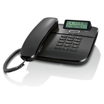 Стационарен телефон Gigaset DA610, LCD черно-бял дисплей, черен image