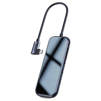USB хъб Baseus CAHUB-CZ0G, 8 порта, 3x USB Type-A 3.0, 1x HDMI, 1x SD Card, 1x Micro SD Card, 1x USB Type-C 3.0, 1 x USB-C (PD), черен image
