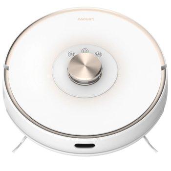 """Прахосмукачка Lenovo Robot Vacuum Cleaner T1, робот, безжична, мокро почистване, 2700 Pa всмукателна мощност, Wi-Fi, функция """"График"""", автоматично зареждане, лазерна навигация, SLAM картографиране, бяла image"""