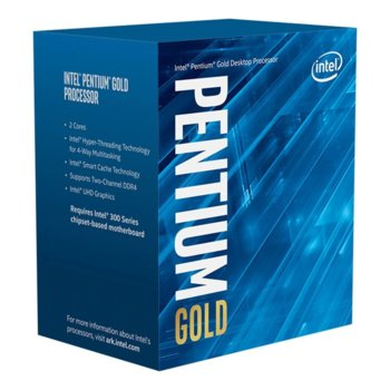 Процесор Intel Pentium Gold G6500, двуядрен (4.10GHz, 4MB, 350MHz - 1.10GHz, LGA1200) BOX, с охлаждане image