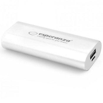 Външна батерия/power bank/ Esperanza 4400 MAH EMP105W, 4400 mAh, бяла image