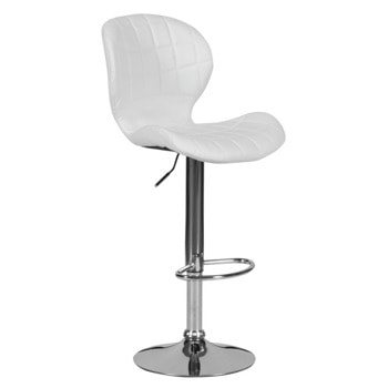 Бар стол Carmen 4055, до 100кг, еко кожа, хромирана база, газов амортисьор, бял image