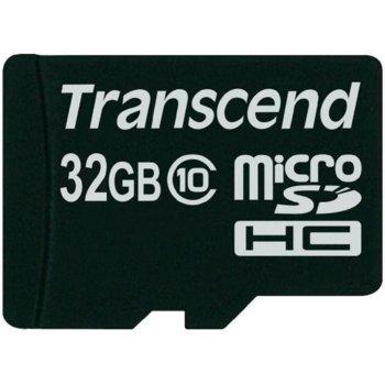 Карта памет 32GB microSDHC, Transcend Premium, Class 10, скорост на четене 40MB/s, скорост на запис 17MB/s image