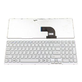 Клавиатура за лаптоп SONY, съвместима с модел VAIO SVE15, US, с рамка, бяла image